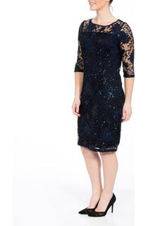 Three Quarter Sleeve Lace And Sequin Midi Dress