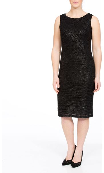 Textured Sleeveless Shimmer Midi Dress Black