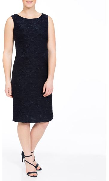 Textured Sparkle Fitted Midi Dress Midnight