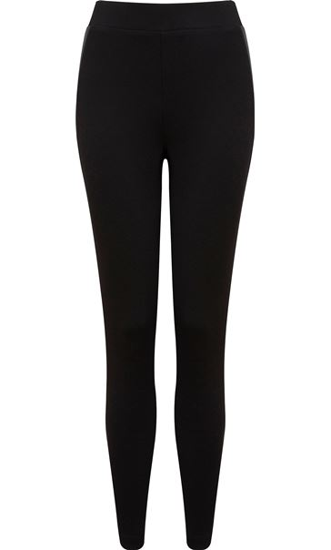 Fitted Ponte Trousers With Faux Leather Trim Black