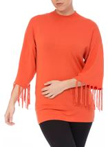 Tassel Cuff Knitted Top Tangerine - Gallery Image 1