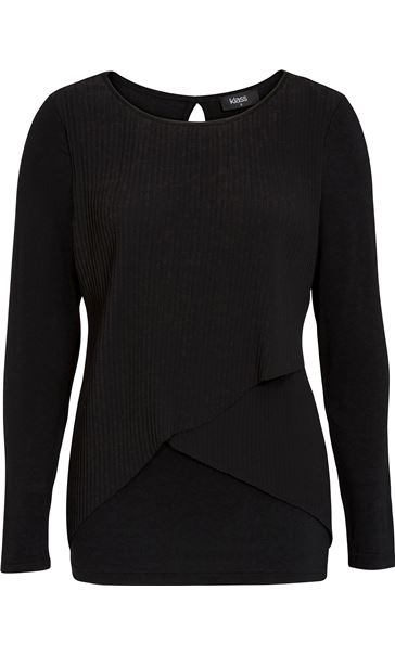 Pleated Georgette And Jersey Long Sleeve Top Black