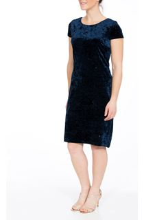 Velour Sparkle Cap Sleeve Fitted Midi Dress