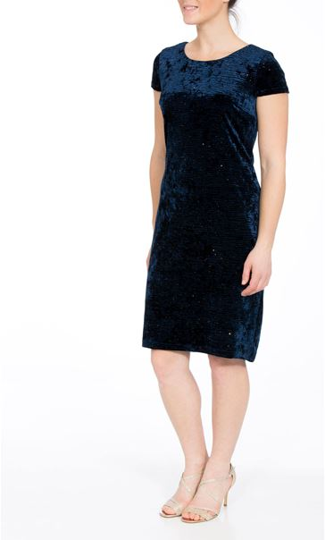 Velour Sparkle Cap Sleeve Fitted Midi Dress Blue
