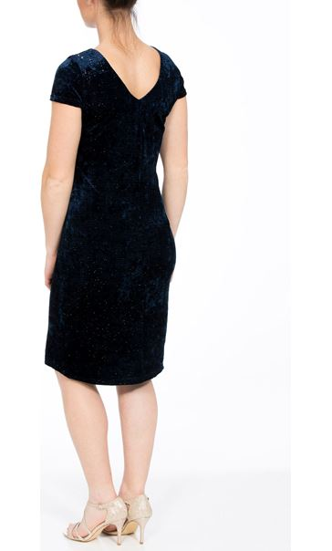 Velour Sparkle Cap Sleeve Fitted Midi Dress Blue - Gallery Image 2