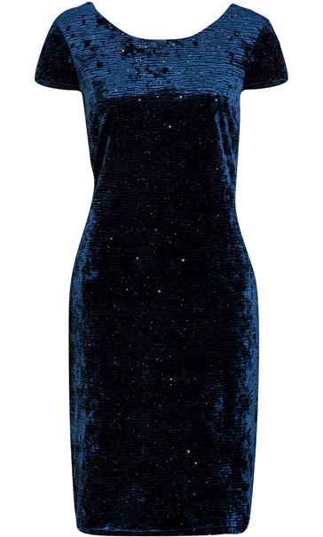 Velour Sparkle Cap Sleeve Fitted Midi Dress Blue - Gallery Image 3
