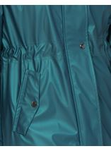 Sporty Metallic Midi Length Coat Azure - Gallery Image 4