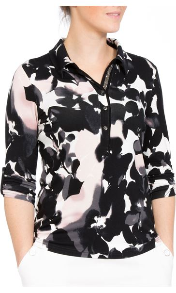 Anna Rose Printed Jersey Top Black Floral