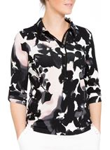 Anna Rose Printed Jersey Top Black Floral - Gallery Image 1