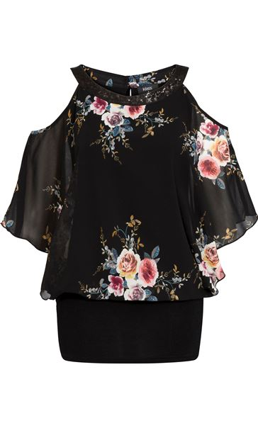 Floral Chiffon And Jersey Cold Shoulder Top Black/Multi