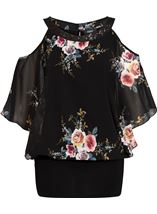 Floral Chiffon And Jersey Cold Shoulder Top Black/Multi - Gallery Image 1