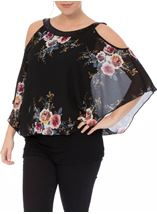 Floral Chiffon And Jersey Cold Shoulder Top Black/Multi - Gallery Image 2