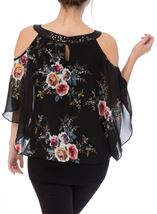 Floral Chiffon And Jersey Cold Shoulder Top Black/Multi - Gallery Image 3