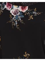 Floral Chiffon And Jersey Cold Shoulder Top Black/Multi - Gallery Image 4