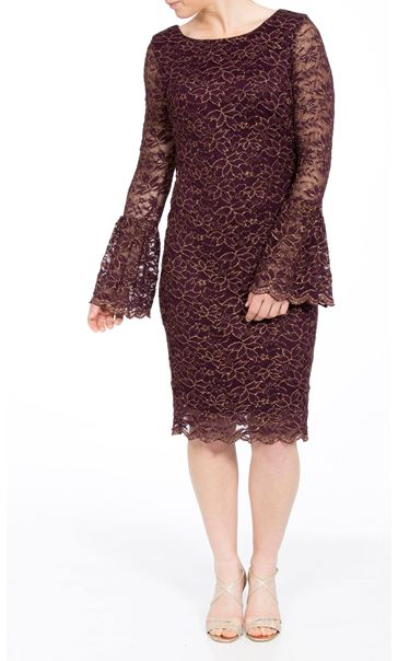Bell Sleeve Sparkle Lace Fitted Midi Dress Wine/Gold