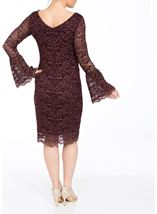 Bell Sleeve Sparkle Lace Fitted Midi Dress Wine/Gold - Gallery Image 2