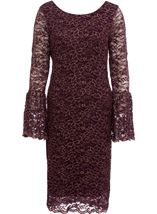 Bell Sleeve Sparkle Lace Fitted Midi Dress Wine/Gold - Gallery Image 3