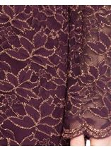 Bell Sleeve Sparkle Lace Fitted Midi Dress Wine/Gold - Gallery Image 4