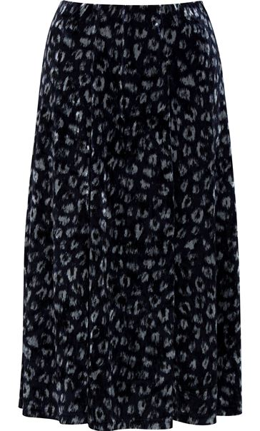 Anna Rose Velour Animal Printed Midi Skirt Navy Animal
