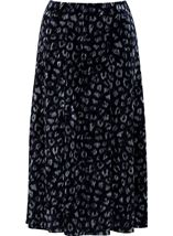 Anna Rose Velour Animal Printed Midi Skirt Navy Animal - Gallery Image 1