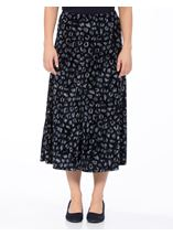 Anna Rose Velour Animal Printed Midi Skirt Navy Animal - Gallery Image 2
