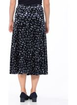 Anna Rose Velour Animal Printed Midi Skirt Navy Animal - Gallery Image 3