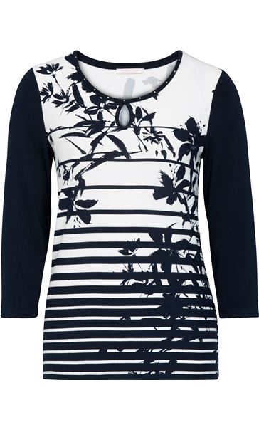 Anna Rose Floral And Stripe Jersey Top Navy/White