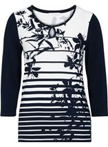 Anna Rose Floral And Stripe Jersey Top Navy/White - Gallery Image 1