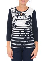 Anna Rose Floral And Stripe Jersey Top Navy/White - Gallery Image 2