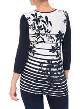 Anna Rose Floral And Stripe Jersey Top Navy/White - Gallery Image 3