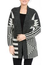 Geometric Open Knit Cardigan Greys - Gallery Image 1