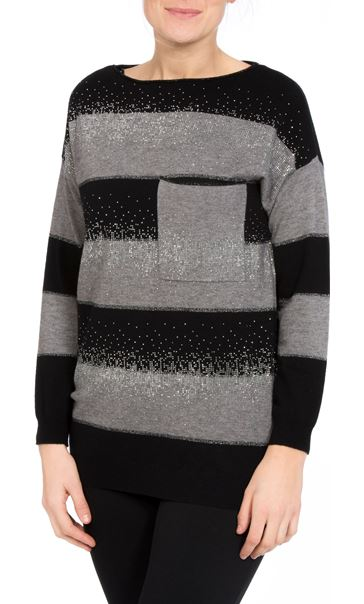 Embellished Striped Long Sleeve Knit Top Black/Grey