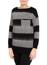 Embellished Striped Long Sleeve Knit Top Black/Grey - Gallery Image 1