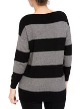Embellished Striped Long Sleeve Knit Top Black/Grey - Gallery Image 2