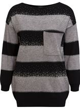 Embellished Striped Long Sleeve Knit Top Black/Grey - Gallery Image 4