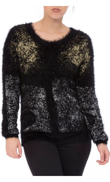 Metallic Eyelash Knit Long Sleeve Top Black Metallic