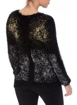 Metallic Eyelash Knit Long Sleeve Top Black Metallic - Gallery Image 2