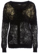 Metallic Eyelash Knit Long Sleeve Top Black Metallic - Gallery Image 3