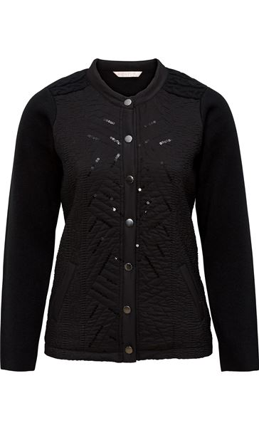 Anna Rose Sequin and Stitch Detail Jacket Black
