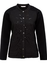 Anna Rose Sequin and Stitch Detail Jacket Black - Gallery Image 1