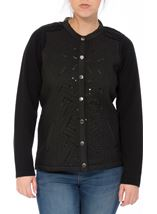 Anna Rose Sequin and Stitch Detail Jacket Black - Gallery Image 2