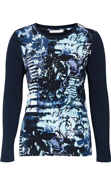 Anna Rose Long Sleeve Printed Jersey Top Navy Blue