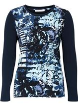 Anna Rose Long Sleeve Printed Jersey Top Navy Blue - Gallery Image 1