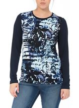 Anna Rose Long Sleeve Printed Jersey Top Navy Blue - Gallery Image 2