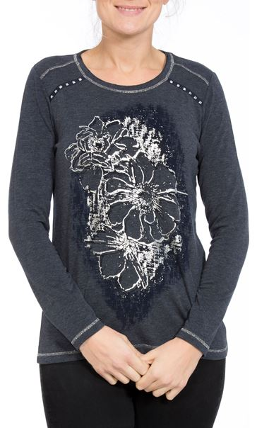 Anna Rose Floral Placement Print Top Navy Melange - Gallery Image 2