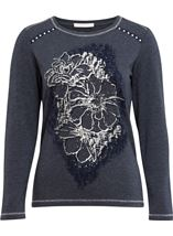 Anna Rose Floral Placement Print Top Navy Melange - Gallery Image 1