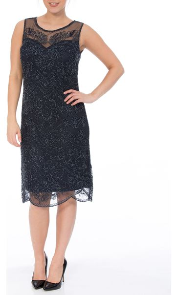Sleeveless Mesh And Beaded Midi Dress Navy