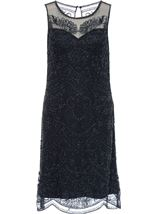 Sleeveless Mesh And Beaded Midi Dress Navy - Gallery Image 3