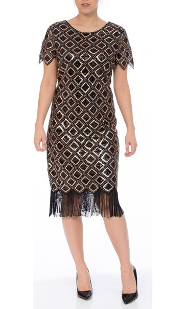 Bead And Sequin Short Sleeve Midi Dress Black/Gold