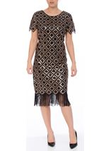 Bead And Sequin Short Sleeve Midi Dress Black/Gold - Gallery Image 1